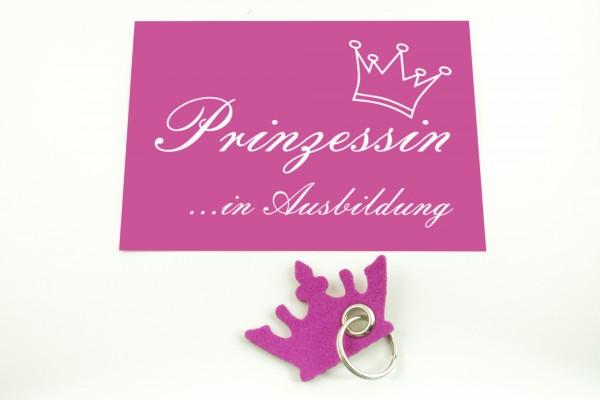 """Prinzessinnen-Set Schlüsselanhänger- Inkl. Postkarte """"Prinzessin in Ausbildung"""""""