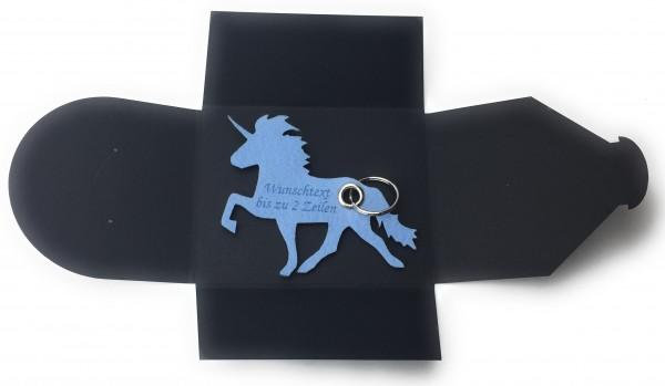 Schlüsselanhänger aus Filz optional mit Namensgravur - Einhorn / Märchen - eisblau als Schlüsselanhä