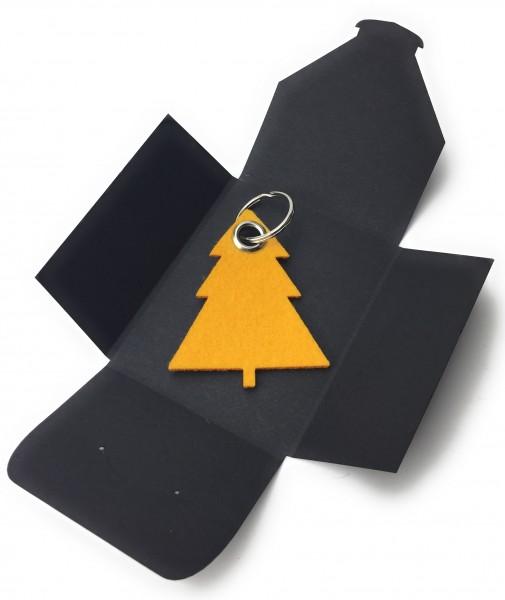 Schlüsselanhänger aus Filz optional mit Namensgravur - Tannenbaum / Weihnachtsbaum - safrangelb als
