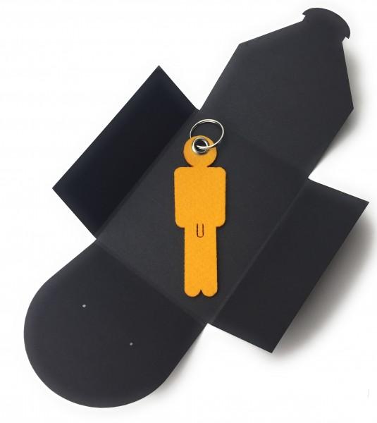 Schlüsselanhänger aus Filz optional mit Namensgravur - Mann His - safrangelb als Schlüsselanhänger