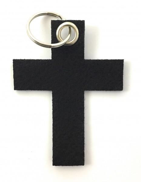 Kreuz groß - Filz-Schlüsselanhänger - Farbe: schwarz - optional mit Gravur / Aufdruck