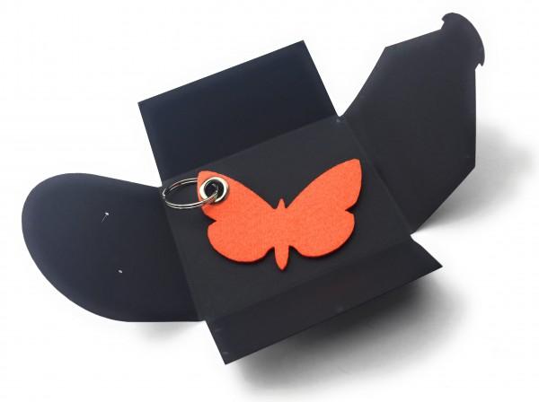 Schlüsselanhänger aus Filz optional mit Namensgravur - Schmetterling / Tier - orange als Schlüssela