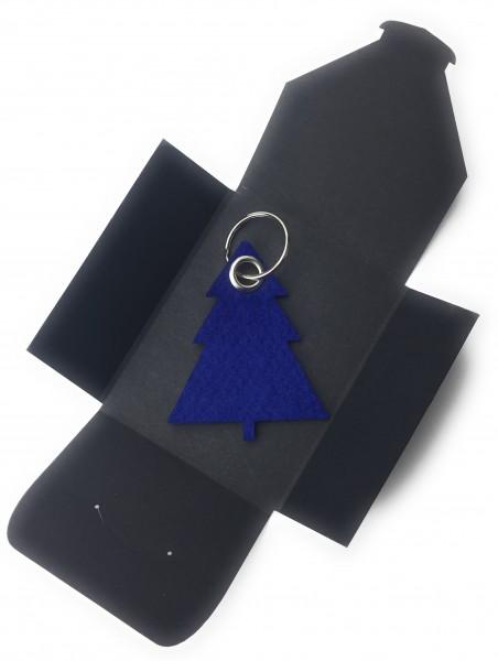 Schlüsselanhänger aus Filz optional mit Namensgravur - Tannenbaum / Weihnachtsbaum - königsblau als