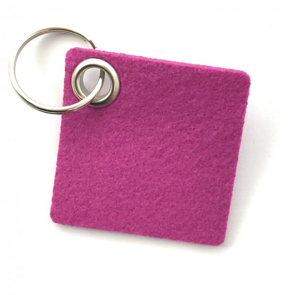 Viereck - Filz-Schlüsselanhänger - Farbe: magenta - optional mit Gravur / Aufdruck