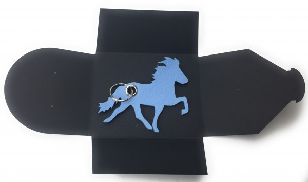 Schlüsselanhänger aus Filz optional mit Namensgravur - Island-Pferd / Reiter - eisblau als Schlüssel