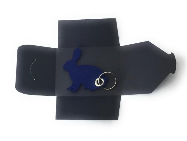 Schlüsselanhänger aus Filz optional mit Namensgravur - Hase sitzend / Ostern - marineblau als Schlüs