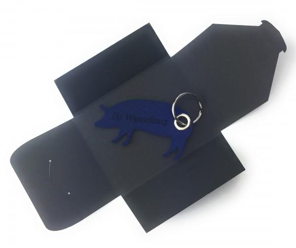 Schlüsselanhänger aus Filz optional mit Namensgravur - Haus-Schwein / Metzger / Fleischer - marinebl