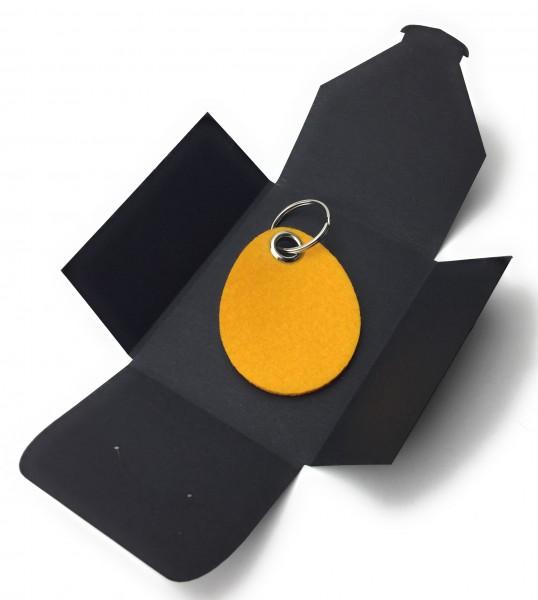 Schlüsselanhänger aus Filz optional mit Namensgravur - Oster-Ei / Ostern - safrangelb als Schlüssela