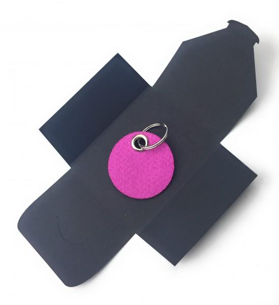 Schlüsselanhänger aus Filz optional mit Namensgravur - Kreis / Scheibe - pink / magenta als Schlüss