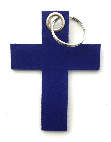 Kreuz groß - Filz-Schlüsselanhänger - Farbe: royalblau - optional mit Gravur / Aufdruck