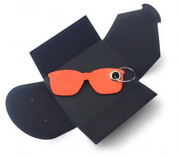 Schlüsselanhänger aus Filz optional mit Namensgravur - Sonnen-Brille / Urlaub - orange als Schlüsse