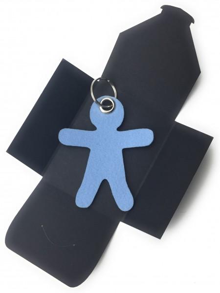 Schlüsselanhänger aus Filz optional mit Namensgravur - Figur / Lebkuchenmännchen - eisblau als Schl