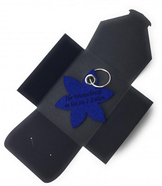 Schlüsselanhänger aus Filz optional mit Namensgravur - Blume spitz / Blüte - königsblau als Schlüss
