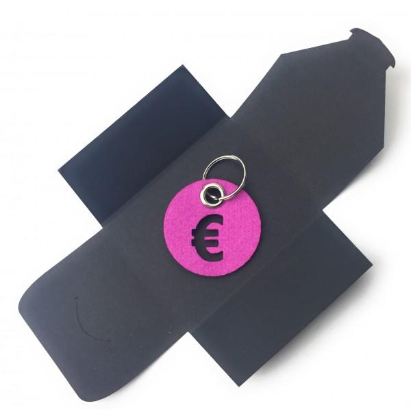 Schlüsselanhänger aus Filz - Kreis / Scheibe / mit €-Zeichen - pink / magenta als Schlüsselanhänger