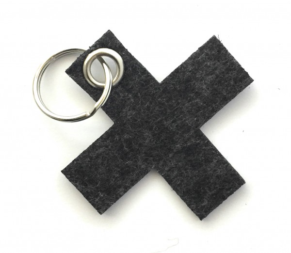 Kreuz, klein / X - Filz-Schlüsselanhänger - Farbe: schwarz meliert - optional mit Gravur / Aufdruck