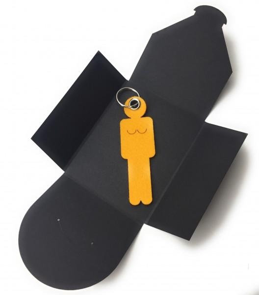 Schlüsselanhänger aus Filz optional mit Namensgravur - Frau / Hers - safrangelb als Schlüsselanhäng
