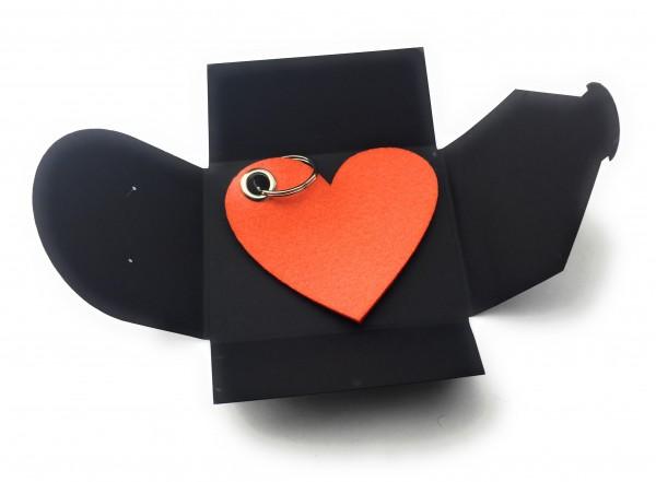 Schlüsselanhänger aus Filz optional mit Namensgravur - Herz / Liebe gross - orange als Schlüsselanhä