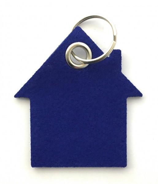 Haus - Filz-Schlüsselanhänger - Farbe: royalblau - optional mit Gravur / Aufdruck